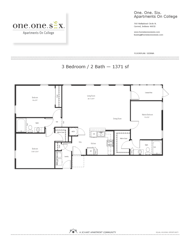 Sienna 3 Bedroom Apartment Floor Plan | One One Six Apartments