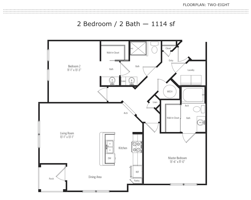 2-8 2 Bedroom Floor Plan | One One Six Apartments