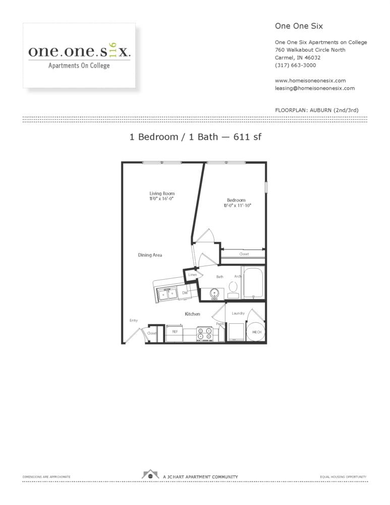 Auburn 1 Bedroom Floor Plan One One Six Apartments