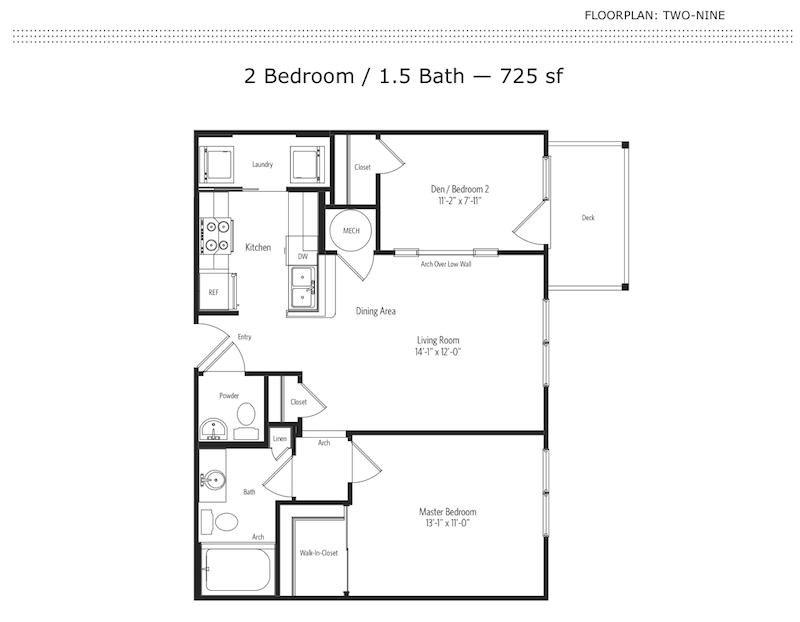 2 9 1 Bedroom Den Floor Plan One One Six Apartments