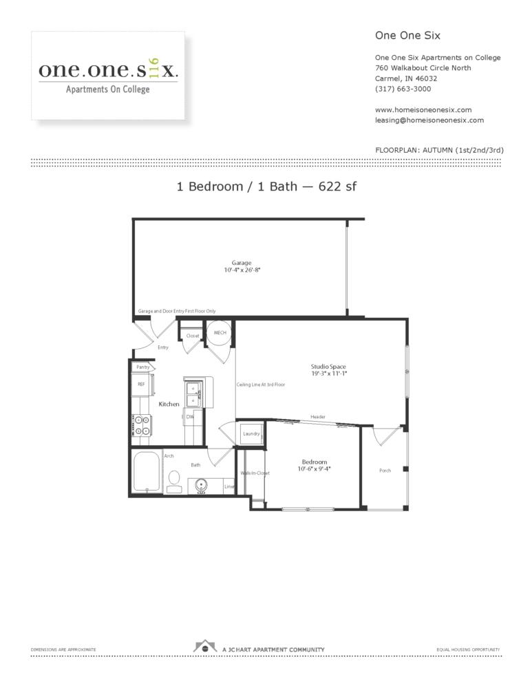 Autumn 1 Bedroom Floor Plan One One Six Apartments