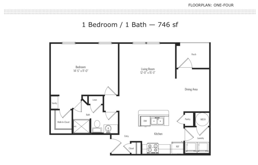 1-4 1 Bedroom Floor Plan | One One Six Apartments